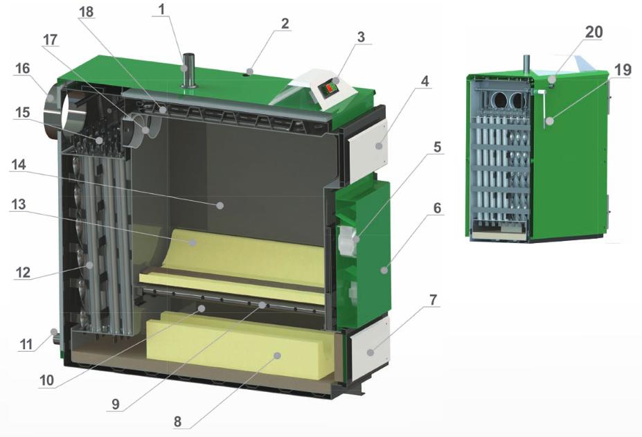Schematische Darstellung des Holzvergaserkessel mit hoher Leistung Orlan Super 90-130 kW